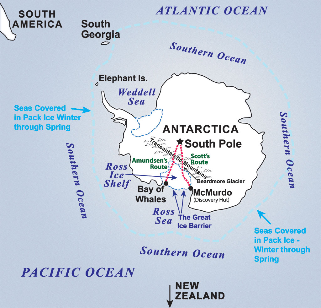 Scott & Amundsen's Route to the South Pole