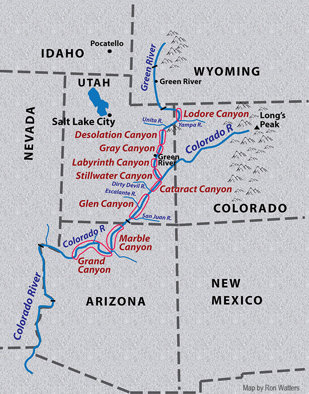 Map of Powell's Descent of the Colorado