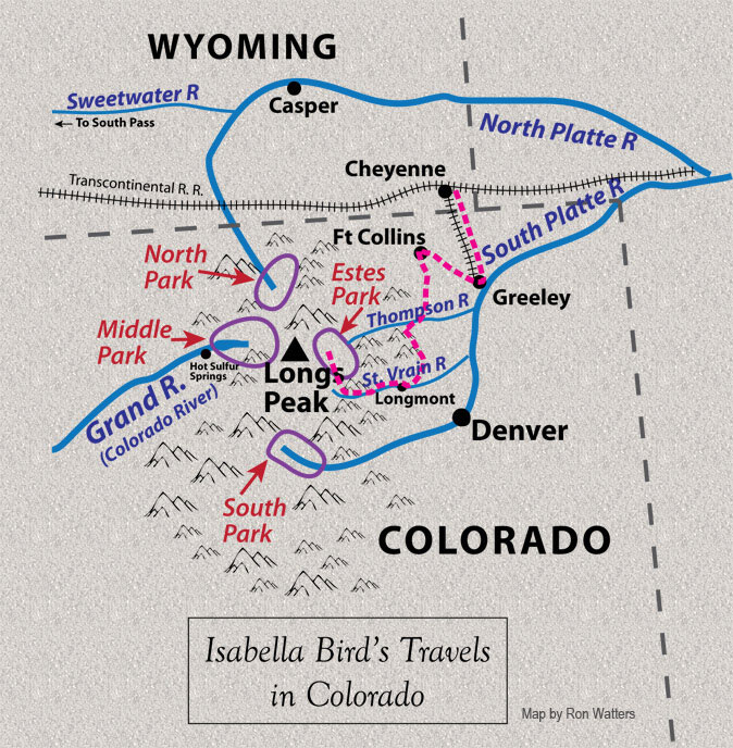 Map of Isabella's Travels in Colorado